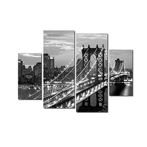 Hotaluyt 4 Paneles Nueva York Puente sin Marco Spray