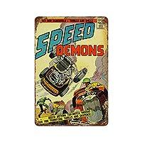 レーシングポスタースピードデーモンホットロッドクラッシュ1950年代 さびた錫のサインヴィンテージアルミニウムプラークアートポスター装飾面白い鉄の絵の個性安全標識警告アニメゲームフィルムバースクールカフェ40cm*30