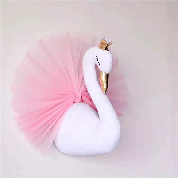 Animals Head Wall Mount Decor Soft Gold Crown Swan Doll Wall Decoration Child Room Kindergarten Wall Hanging Mount Stuffed Plush Toy Princess Doll Girl Baby Kid Gift Nursery Room Wall Decor