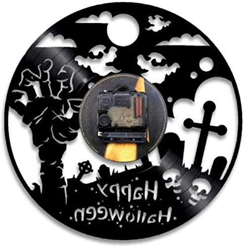 Regalo Reloj de pared de vinilo Reloj de grabación Reloj vintage de Halloween Reloj de cuarzo silencioso Reloj de pared Regalos personalizados hechos a mano para niños y adultos 12 pulgadas con LED-12
