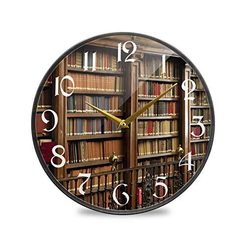 ART VVIES Reloj de Pared Redondo de 9,5 Pulgadas Que no Hace tictac silencioso Funciona con Pilas Oficina Cocina Dormitorio decoración del hogar-Biblioteca Estante para Libros