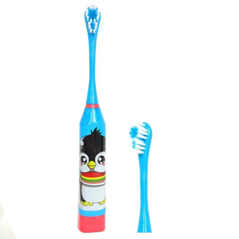 ネコリビジョン怒る子供用電動歯ブラシ子供用電動歯ブラシ漫画パターン超音波防水歯ブラシ、ブルー
