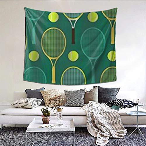 ZVEZVI Tapiz, tapices de Pared de Raquetas de Tenis Azules y Verdes, Tela Decorativa para Colgar en la Pared para Sala de Estar, Dormitorio, 60 x 51 Pulgadas