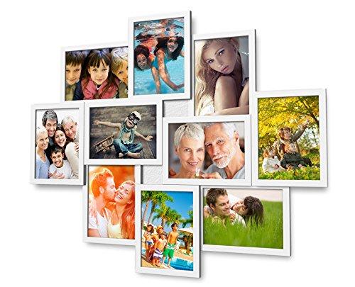 Artepoint Holz Fotogalerie für 10 Fotos 13x18 cm - 3D 1002 Bilderrahmen Bildergalerie Fotocollage Rahmenfarbe Weiß