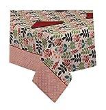 ALAMBRA - Juego de mantel de algodón Panamá de preciosa impresión floral con servilletas, 6 plazas, 12 plazas (color 2, 6 plazas)