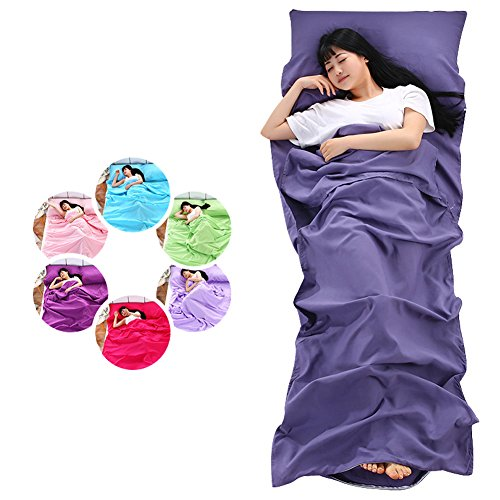 SLIN Sleeping Bag Liner Travel Sheet Travel Bedding for Hotel Stays with Pillow Case for Business Trip Traveling Camp Backpacking,80CM210CM Pink