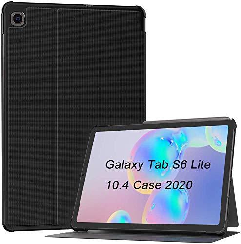 Soke Funda Samsung Galaxy Tab S6 Lite 10.4' 2020 Premium TPU Back Cover Soporte Auto Sleep/Wake Folio Stand Funda para Galaxy Tab S6 Lite SM-P610/P615 Negro