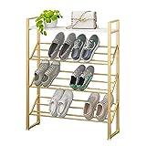 Zapatero Rack de zapatos de oro, organizador de almacenamiento de zapatos de 3/4 / 5 niveles con tapa de madera, torre de zapato de metal robusto for armarios de entrada de vestíbulo Garaje Estante pa