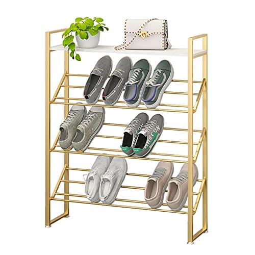 Zapatero Rack de zapatos de oro,organizador de almacenamiento de zapatos de 3/4/5 niveles con tapa de madera,torre de zapato de metal robusto for armarios de entrada de vestíbulo Garaje Zapateros