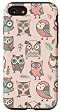 iPhone SE (2020) / 7 / 8 Cute Brown Teal Coral Pink Owl Pattern AEC119 Case