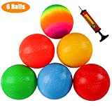 Ogrmar 6PCS 8.5 Inch Playground Balls Dodgeballs with 1 Hand Pump for Kids and Adults Dodge Ball, Kickball, Handball, Camps, Picnic and Schoolyard Games