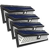 Lamake 改良版 超超明るい 4400mAh大容量バッテリー内蔵 センサーライト ソーラー充電 三つ照明モード 明暗センサー 取付簡単 4pack