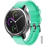 ANBEST Correa de repuesto de silicona suave, compatible con Vivoactive 3/Venu/Move 3/Forerunner 645/245, 20 mm, reloj deportivo para Galaxy Watch 42 mm/Gear Sport/Gizmo Smart Watch, menta, L