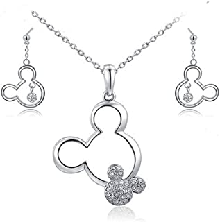 Mall of Style Mickey Jewelry Set - Necklace and Earrings - Trendy Plated Character Jewelry for Teenage Girls