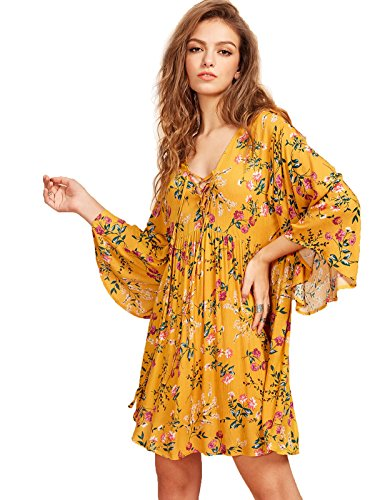 Milumia Women's Floral Print Front Cross Lace Up Deep V-neck Flare Sleeve Loose Short