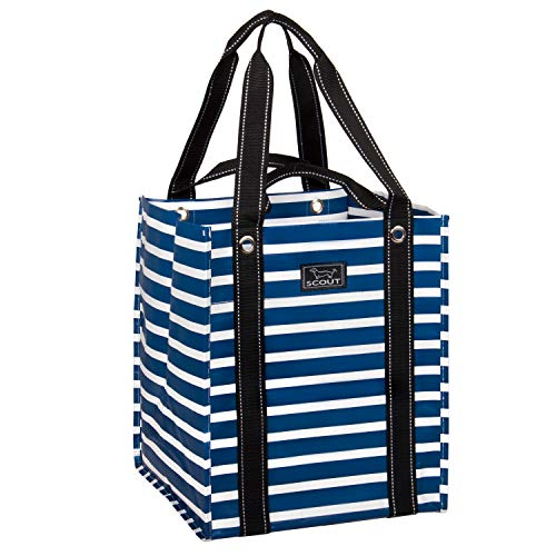 SCOUT Bagette Reusable Large Grocery Shopping Tote Bag, Folds Flat, Two Handle Lengths, Water Resistant (Nantucket Navy)