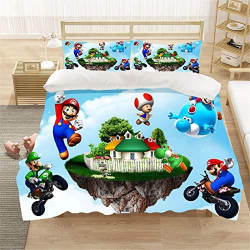 LIYIMING Super Mario Bros - Juego de funda de edredón con diseño de anime en 3D (3 piezas, microfibra ultrasuave)