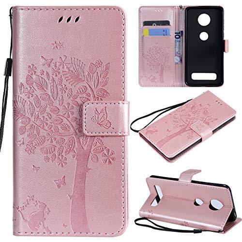 Nancen Compatible with Handyhülle Motorola Moto Z4 Play Hülle, Flip-Hülle Handytasche - Standfunktion Brieftasche & Kartenfächern - Baum & Katze - Rose Gold