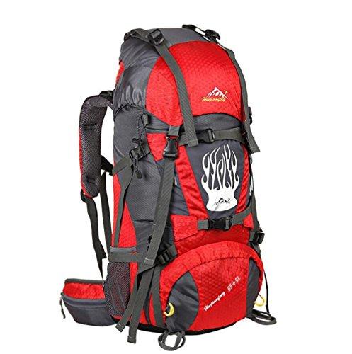 55L Nylon imperméable Outdoor Sacs Professional randonnée Camping Backpack Voyage pack Alpinisme Unisexe Escalade Knapsack , red