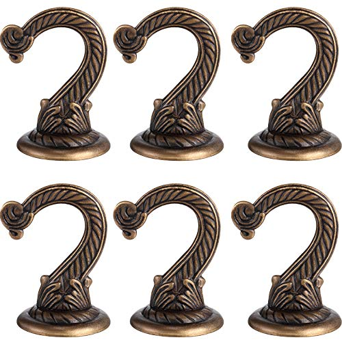 6 Pieces Ceiling Hooks Heavy Duty Swag Hook Hanging Plants Chandeliers Wind Chimes Ornament Hooks for Home Office Kitchen (Bronze)