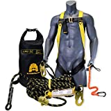 KwikSafety (Charlotte, NC) TSUNAMI COMBO | 50 ft. Braided Vertical Lifeline Rope, 1-D Ring Safety Harness, Waterproof 20L Dry Bag Tool Lanyard ANSI OSHA Fall Arrest Restraint Protection Equipment