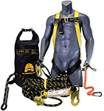 KwikSafety (Charlotte, NC) TSUNAMI COMBO   50 ft. Braided Vertical Lifeline Rope, 1-D Ring Safety Harness, Waterproof 20L Dry Bag Tool Lanyard ANSI OSHA Fall Arrest Restraint Protection Equipment