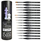 Two Lantern Art Supply 15 Miniature Paint Brushes - Fine Detail Paint Brush Set- Ergonomic Triangular Birch Wood Handles - Faux Sable Synthetic Taklon Brushes Work with All Paints & Polishes