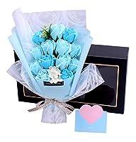 Capiner 喜ばれるプレゼント ソープフラワー 薔薇 花束 記念日 バラ ギフト 造花 贈り物 お祝い 誕生日 結婚 還暦 母の日 父の日 メッセージカード ショップバッグ付(13本) (ブルー)