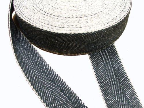 Pandoras Upholstery - Cinta para tapicería (Rollo de 10 m), Color Blanco y Negro
