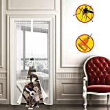 WISKEO Mosquitera para Puerta Grande Magnetica, Cierre MagnéTico Que, Mantiene Mosquitos Fuera, FáCil De Instalar Cortina Varios Tamaños, Puertas Correderas Balcones - Blanco 160x210cm