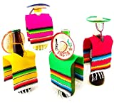 Set of 6 Serapes for Bottles and Mini Fiesta Hats for Bottles - 4 Inches by 11 Inches Poncho Cover, 3.5 Inches Wide Sombrero for Cinco De Mayo Party Decoration (6 of Each)