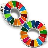令和版 2個 SDGs バッジ ピンバッチ バッヂ 国連 17色 高級 人気 ピンバッジ 公式 襟章 sdgsピンバッジ 留め具 合金製 最新仕様(丸みタイプ 1)