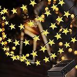 Solar Star Lichterkette Außen, 5M 50 LEDs Lichterketten Sterne Aussen, Wasserdicht mit 8 Leuchtmodis Lichterkette für Balkon, Gartendeko, Bäume, Terrasse, Hochzeiten, Weihnachtsbeleuchtung - Warmweiß