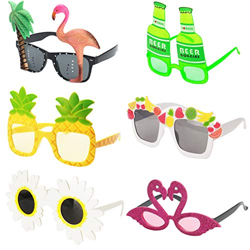 Ocean Line Novelty Party Sunglasses - 6 Pairs Creative Funny Eyewear, Luau Tropical Party, Fancy Dress Party Supply, Perfect Hawaiian Themed Eyeglasses for Kids & Adults (Type-B)