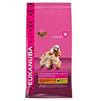 40% less fat* for weight control (*vs Eukanuba Adult Medium Breed) For small and medium dogs (< 25 kg) with a tendency to be gain weight Clinically proven prebiotics help promote strong natural defenses No artificial preservatives, flavours or colour...