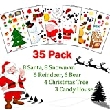 Make Your Own Christmas Stickers for Kids,35 Pack Make a Face Stickers with Santa, Reindeer, Snowman, Bear, Christmas Tree, Candy House Mix Match Kids Party Favor Supplies Craft