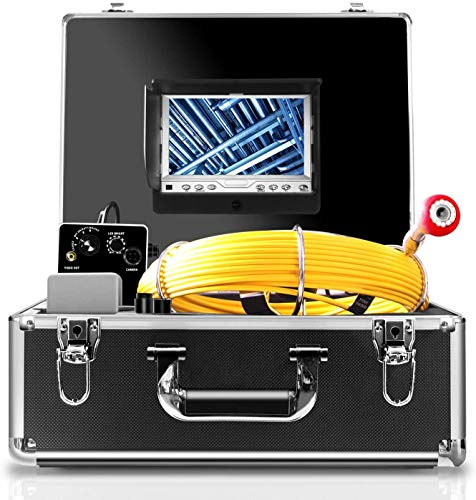 Endoscope Camera, 20M/65ft Pipe Camera 7 inch LCD Monitor Scope Camera Duct HVAC 1000TVL Sony CCD Borescope Sewer Camera Waterproof IP68 Pipeline Inspection Snake Cam (7D1N-20M-Without DVR)