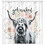 JAWO Get Naked Fabric Shower Curtain, Farmhouse Highland Cow Bull Shower Curtain with Hooks, Funny Cattle Bull Cow Floral on Marble Bathroom Curtain 69W X 70L Inch