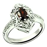Sterling Silver 925 Ring GENUINE GEMSTONE Marquise Shape 0.70 Carat with Rhodium-Plated Finish (8, garnet)