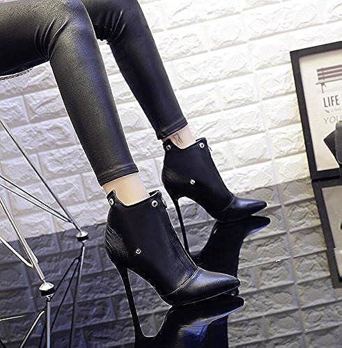KHSKX-9Cm Noir Démarre CorrecteHommest Avec La Version Version Coréenne De La Femme Bottes Nu Et Polyvalent Astuce High-Heel chaussures Bottes D'Hiver Bottes Femme Velours Plus Martin  pas cher