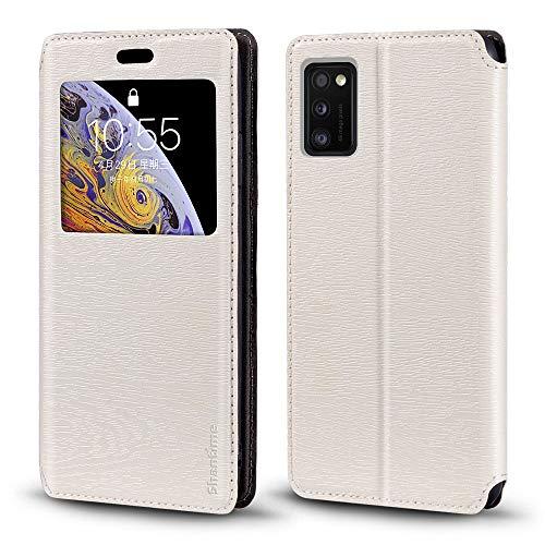 Schutzhülle für Samsung Galaxy A41, Holzmaserung, Leder, mit Kartenhalter und Fenster, Magnetverschluss, für Samsung Galaxy A41 (weiß)