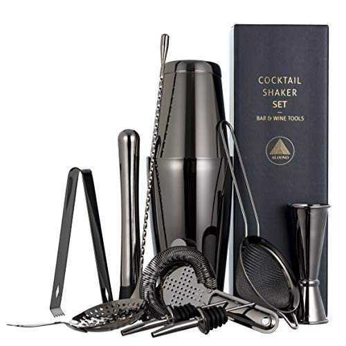 11-Piece Black Cocktail Shaker Bar Set: 2 Weighted Boston Shakers Cocktail Strainer Set Double Jigger Cocktail Muddler and Spoon Ice Tong and 2 Liquor Pourers