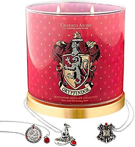 Charmed Aroma Harry Potter Gryffindor Pride Candle, colección de collar de plata de ley 925