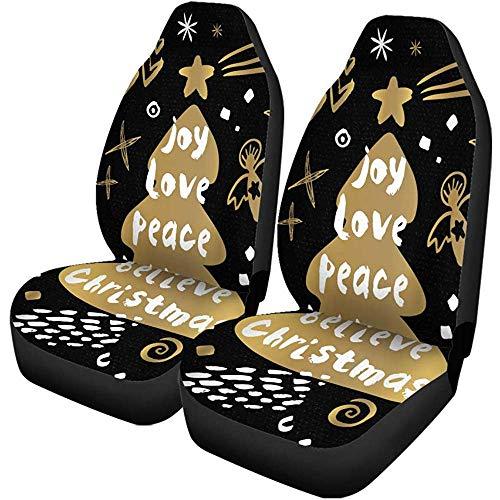Enoqunt Autositzbezüge Joy Love Peace Believe Frohes Neues Jahr Sketch Merry Universal Auto Vordersitze Protector