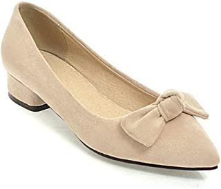 Veveca Women Bowknot Casual Comfort Slip on Dress Pump Shoes Classic Pointed Toe Ballet Flats Beige