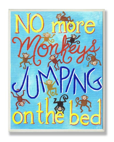 The Kids Room by Stupell No More Monkeys Jumping On The Bed Rectangle Wall Plaque, 11 x 0.5 x 15, Proudly Made in USA