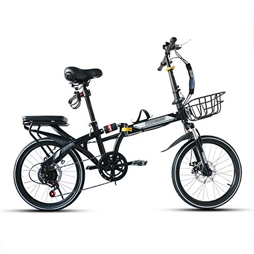 Best Buy! YSHCA16 Inch Folding Bike, 7 Speed Low Step-Through Steel Frame Foldable Compact Bicycle w...
