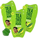 7th Heaven Tea Tree Easy Peel-Off Mask, Assists in Pore Refining & Minimizing, Help with T-Zone Problem, Parabens Free, Green, 3 Pack of 0.3 fl oz. Sachets
