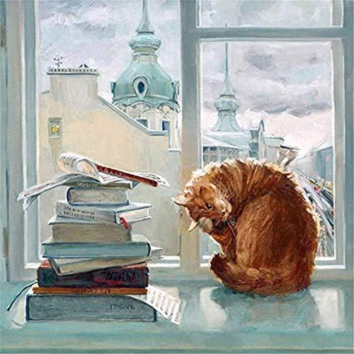 DMTWSM Olieverfschilderij om te knutselen op nummers, set voor volwassenen, ramen, beginners, kat, tekening met borstels, kerstdecoratie, geschenken, 40 x 50 cm