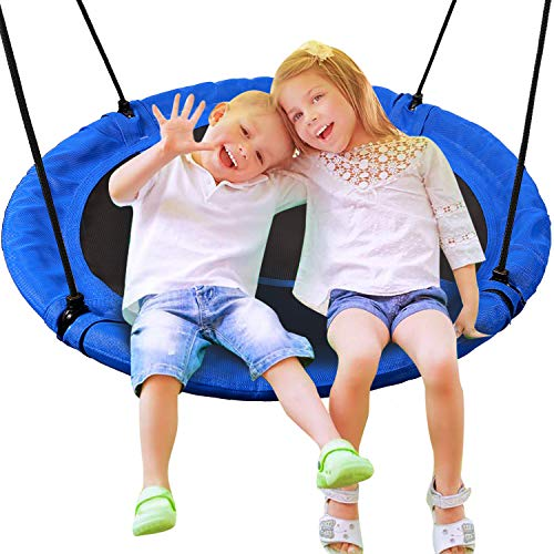 CAMPMAX 40 Inch Saucer Tree Swing for Kids Outdoor, Large Round Swings for Trees and Swing Set, Heavy Duty with Straps for Outside Playground, 500LBS Weight Capacity, Blue